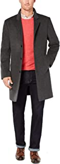 Mens Coat Solid Charcoal Trench Wool