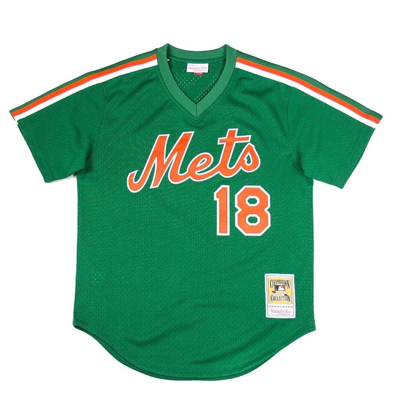 Mitchell & Ness New York Mets Authentic Mesh BP Jersey Darryl Strawberry 1988 Green/Orange