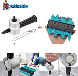 DOMOM Zipbite & Contour Duplication Gauge - Nibbler Cutter Drill Attachment Double Head Metal Sheet- Wrench and Parts,Tool Black Set