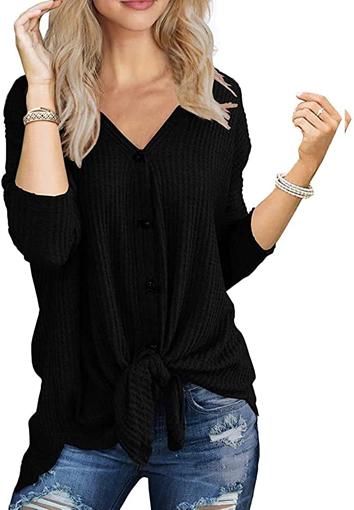 ZPZZ Womens Waffle Knit Tunic Tops Blouse Tie Knot Henley Top Long Sleeves Loose Fitting Bat Wing Plain Shirts (S-2XL)