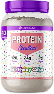 Protein Creations Protein Powder Blend by NutraOne – Indulgently Flavored and Amino Acid Free Protein Powder (Birthday Cake – 2.87 lbs.)