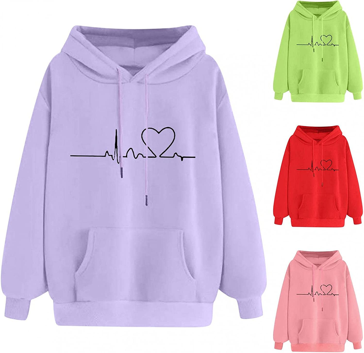 Fudule Cute Hoodies for Teen Girls Heart Graphic Sweatshirts Colorful Long Sleeve Shirts Women Casual Loose Fit Pullover