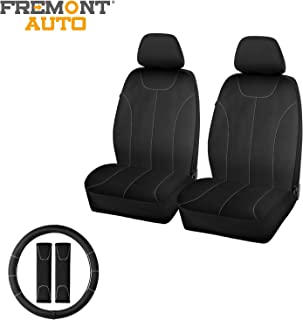 FREMONT AUTO Waterproof Neoprene Car Seat Covers Low Back for Front Seats with 2 Seat Belt Pads & Universal 15 Inch Steeri...