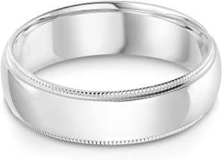 14k Solid Yellow OR White Gold 6mm Comfort Fit Milgrain Traditional Wedding Band Ring