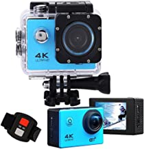 Action Camera 4K Ultra hd WiFi Waterproof DV Camcorders 16MP 170 Degree Wide Angle Lens 2.0 inch LCD Screen is Designed for Extreme Sports (Blue)