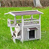 Scurrty Wooden Cat House 2 Story Outdoor Indoor Cat Condo with Raised Waterprrof Roof and Balcony Cat Condo House Small Animal Cage