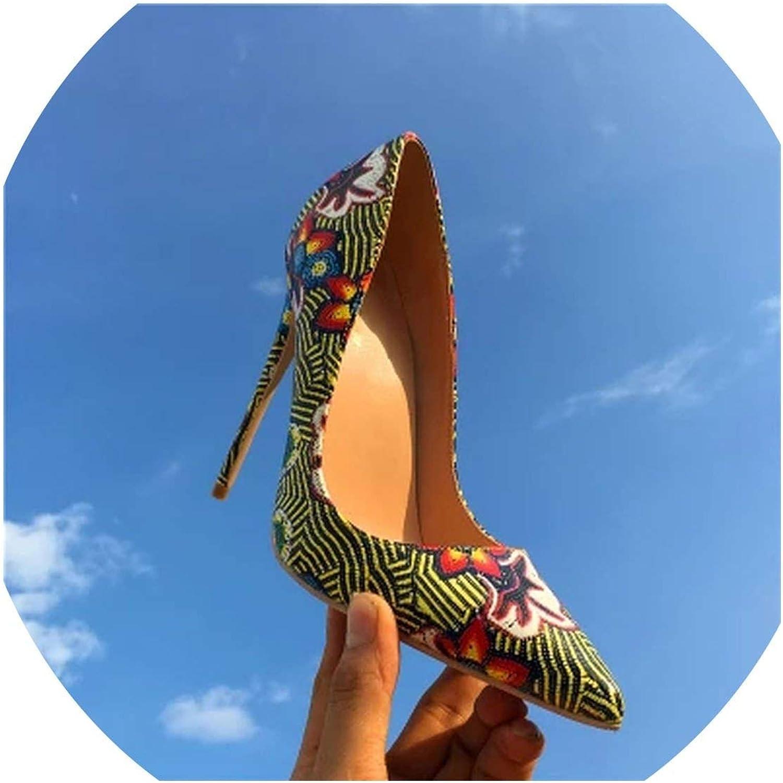 Super experience experience experience kvinnor 's Antiquity Printed Flower grön Pump High talons Platform sommar skor  kundens första rykte först