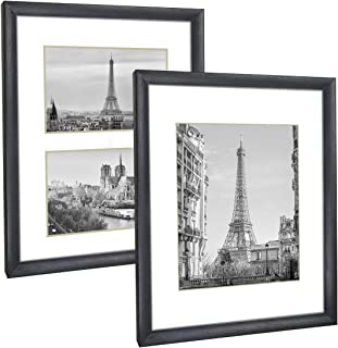 Q.Hou 11x14 Picture Frame Black Set of 2, Each Frame with 2 Mats, Display 8x10 Or Two Opening 5x7 Photos with Mat & 11x14 ...