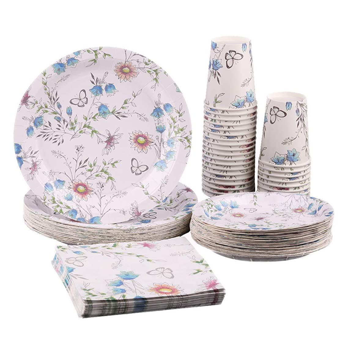 Ottin Tea Party Paper Tableware Set for 36 Guests 9'' Dinner Plates 7'' Dessert Plates 6.5'' Paper Napkins 9oz Paper Cups Disposable Vintage Floral Dinnerware for Wedding Birthday Garden Party