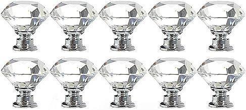 Vosarea 12 peças 25 mm puxador de vidro cristal 30 mm em forma de diamante Usd para armário, gaveta, transparente