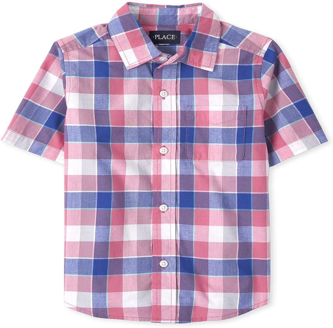 The Children's Place Boys' Short Sleeve Checkered Button Down Shirt