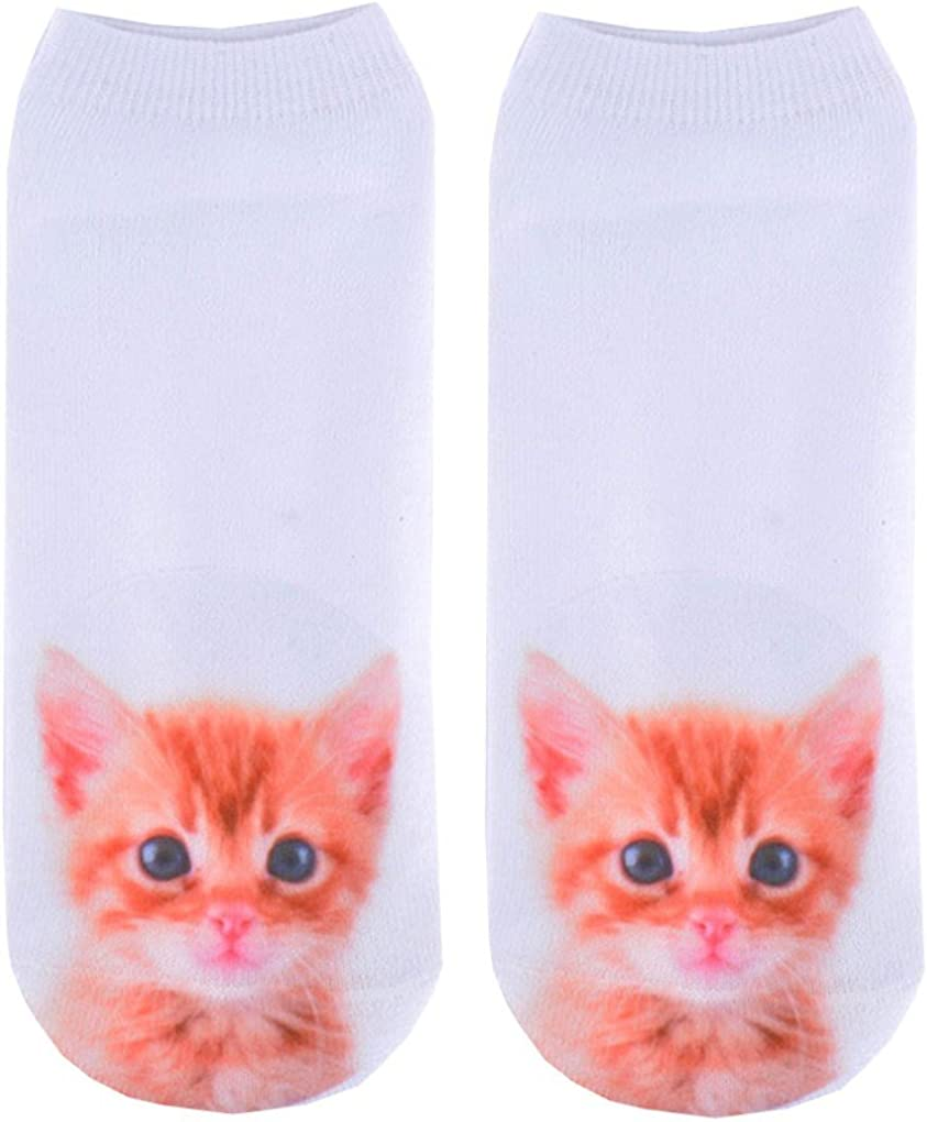 Doxi Brown Kitten Young Cat Style Animal Print Short Socks Unisex Low-cut Ankle