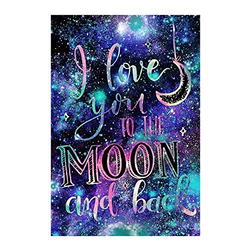 CAheadY 30x40cm I Love You to Moon and Back Cross Stitch DIY Full Round Diamond Painting