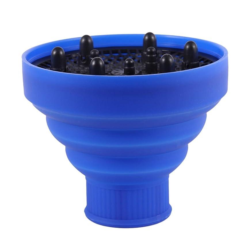 十二療法スペースSODIAL ファッション ヘアドライヤー ディフューザーのカバー 折りたたみ式ヘアドライヤーのフード 送風機 美容院 サロン 巻き毛のヘアスタイリング ヘアケア - 青色