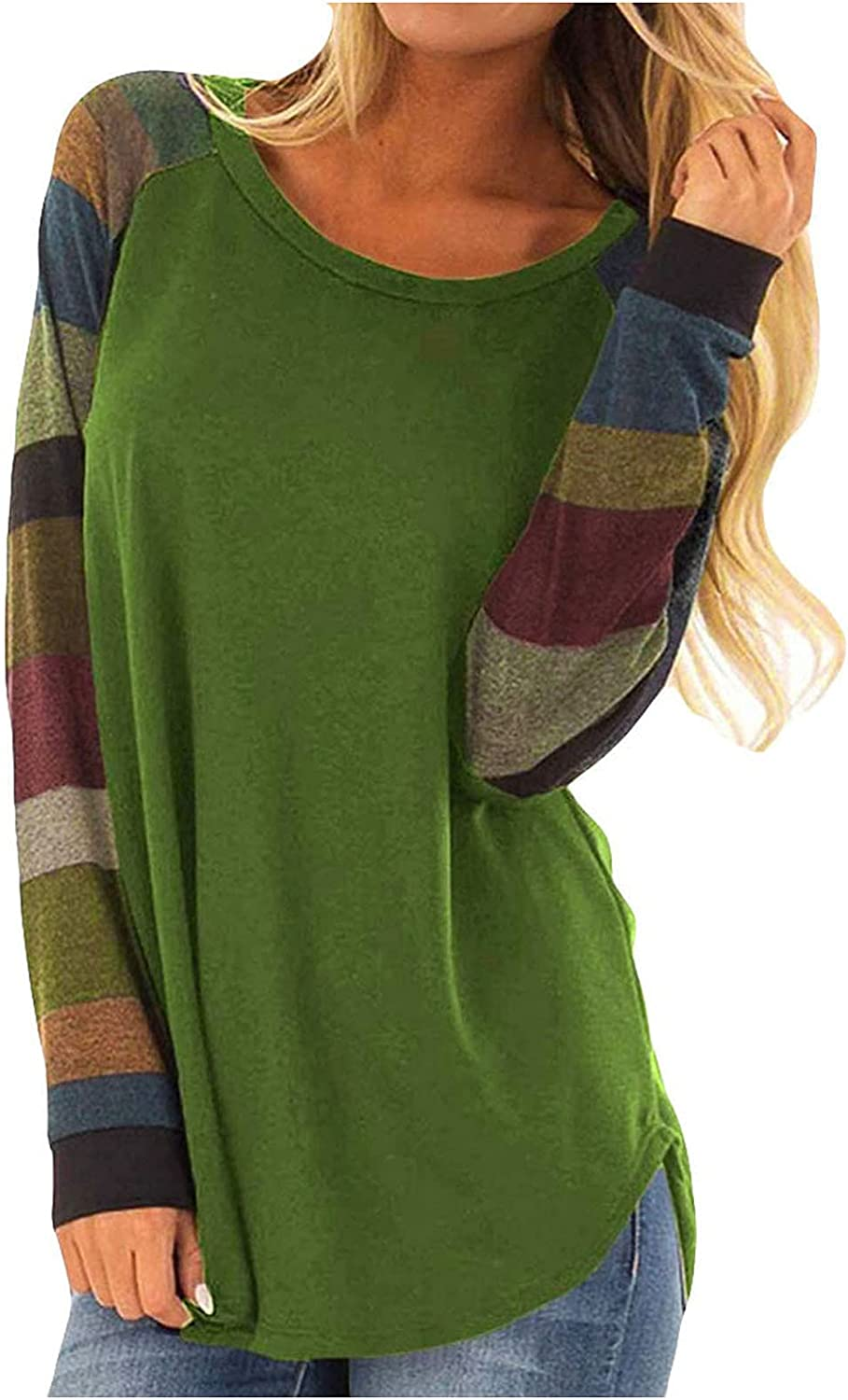 Womans Clothing Trending Fall Long Sleeve T Shirt Color Block Round Neck Loose Casual Side Split Tunic Tops Basic Tees