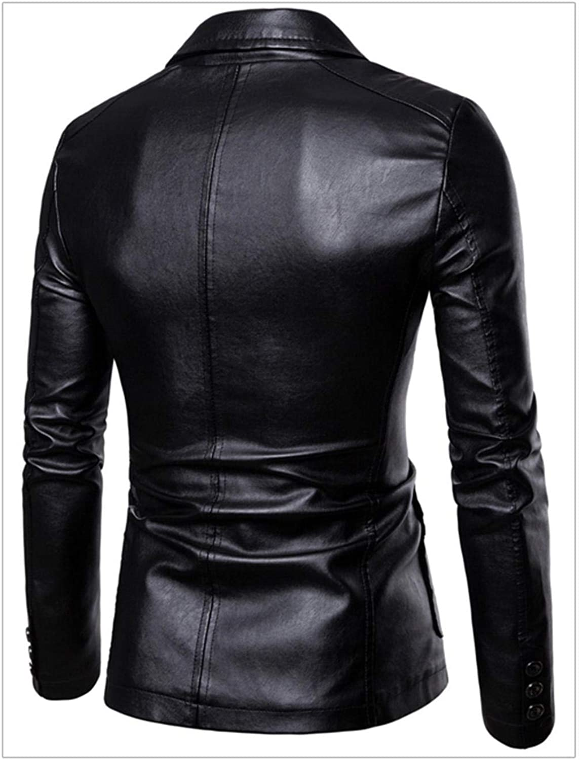 Soluo Leather Blazers for Men - Mens Real Lambskin Leather Jackets & Sport Coats Outerwear Overcoat (Black,3X-Large)