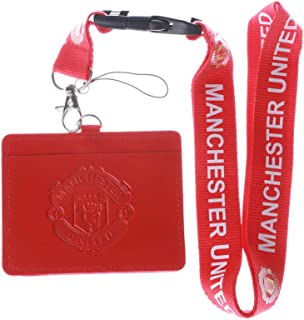 Manchester United CF Red Faux Leather Business ID Badge Card Holder with Keychain Lanyard