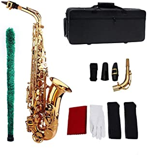 Gecheer Muslady Saxophone Sax EB Be Alto E Flat Brass Carved Pattern on Surface Plastic Mouthpiece Exquisite with Gloves C...