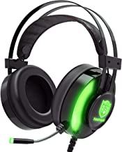 JINDUN Gaming Headset with Noise Canceling Mic & LED Light, Over Ear Headphones with 50mm Speaker Drivers, 7.1 Surround Sound, Compatible with PC/Mac/PS4/Nitendo Switch/Xbox One Controller, Green