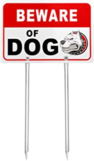 "Kichwit Double Sided Beware of Dog Metal Sign for Yard, Aluminum, All Metal Construction, Sign Measures 11.8"" x 7.9"", 14"" Long Metal Stakes Included"