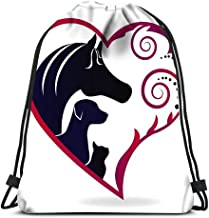Drawstring Backpack Bags Horse Cat And Dog Pink Swirly Heart Love Folding Cinch Bag Bags