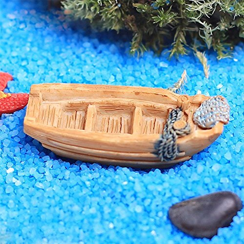 3Pcs Mini Boots-Modell Harz-Fertigkeit Miniatur-Garten mit Sandstrand Landschaft Ornament Aquarium Dekoration