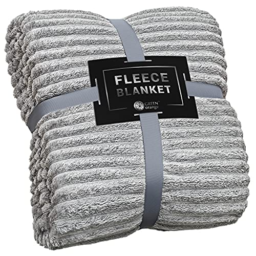 GREEN ORANGE Fleece Blanket Twin Size – 60x80, Lightweight – Grey Melange – Soft, Plush, Fluffy, Warm, Cozy – Perfect for Bed, Sofa