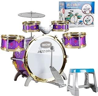 Kids Children Drum Kit Play Set Drums Musical Toy Instrument Pedal Stool (Purple)