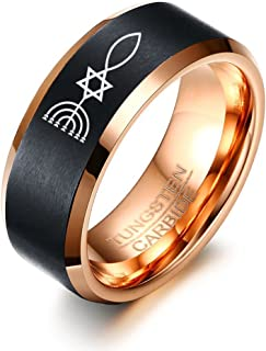Messianic Seal of Jerusalem Carbide Tungsten Two-Tone Edges Ring for Men,8MM Width,Size 7-12