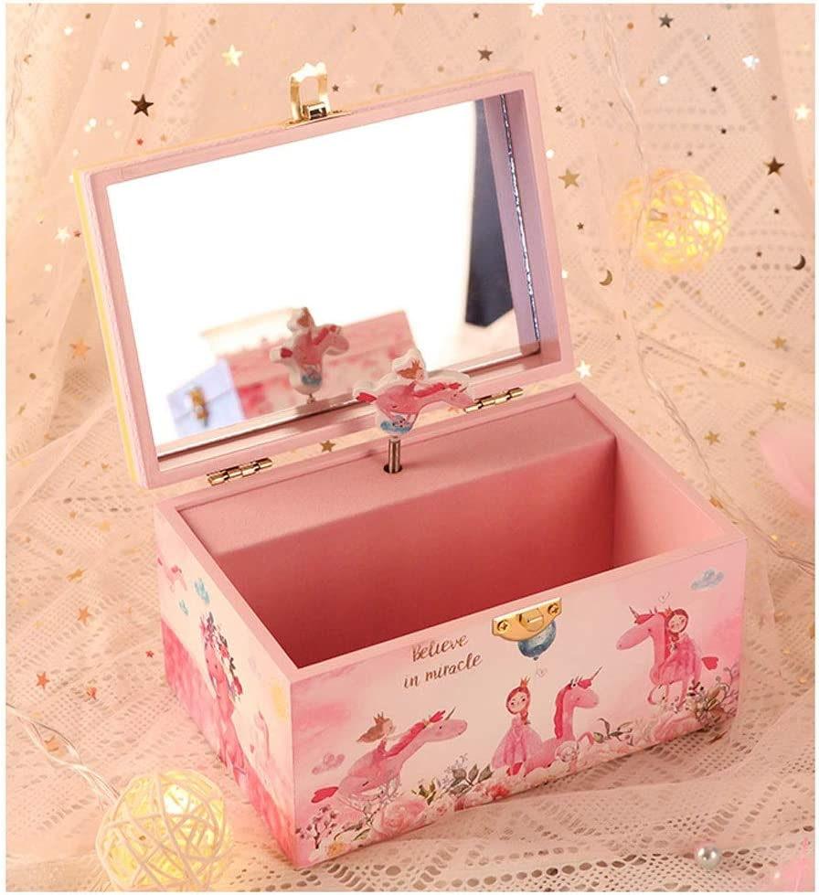 YBYB Wood Musical 40%OFFの激安セール Jewelry 新生活 Box Drawer C with Pink Storage