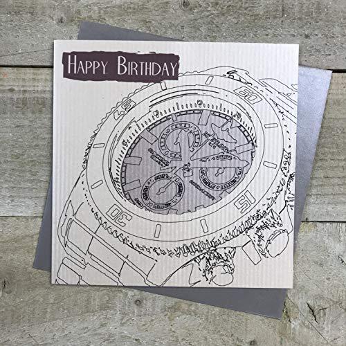 Witte Katoenen Kaarten Gelukkig Heren Verjaardagskaart (Horloge Design)