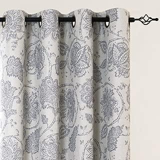 jinchan Paisley Scroll Printed Linen Textured Room Darkening Curtains Grommet Top Medallion Design Jacobean Floral Printed Curtains Burlap Vintage Living Room Curtain Panels Grey 84 inch Long One Pair
