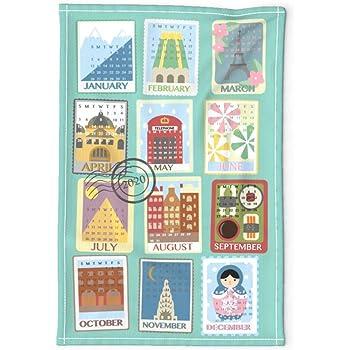 Spoonflower Tea Towel 2020 Vintage Blue Willow Calendar Linen Cotton