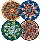 wonlex Ceramic Coasters Absorbent for Drinks, Coaster with Cork Back for Family and Friends, 4 Pack (Mandala and Bohemia Style)