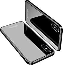 iPhone X Case, MOBYFL Slim Fit Tempered Glass Case with Shockproof Metal Bumper, Anti-Scratch Hard Cover Case for Apple iPhone X/iPhone 10 (Silver+ Black)