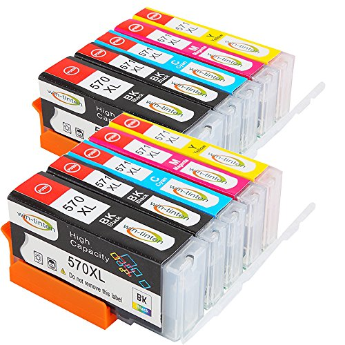 win-tinten 5Ink Cartridges Compatible with CANON/570/571XL for Canon Pixma MG5750MG6850MG7750Series 2set