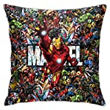 18x18 Super Hero Iron Man Throw Pillow Covers Decorative Case Square Cushion Gift for Boys Girls Kids Friends and Home Decor