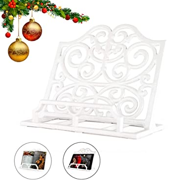 Vintage Cookbook Stand Cast Iron, Decorative Metal Cookbook Recipe Holder for Cookbooks or iPad Stands For Kitchen, White