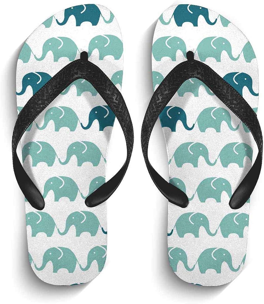 InterestPrint Men's Non-Slip Flip Flops Blue and Grey Cute Elephants Slim Thong Sandal Outdoor Casual Footwear S