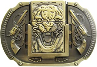 New Vintage Bronze Plated Tiger Guns Lighter Belt Buckle also Stock in US