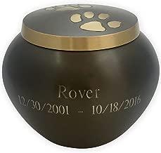 Beautiful Life Urns Pawsitively Cherished Custom Pet Urn Personalized, Medium, Slate/Gold