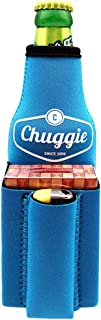 Chuggie Beer Bottle with Two Pockets - Holds Cigarette and Lighter, Phone, Keys, 3mm Neoprene (Blue)