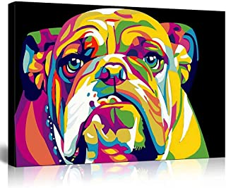 LIUDAO Wooden Framed DIY Canvas Painting for Adults Beginner Paint by Numbers Kits with Brushes and Acrylic Pigment - Colorful Dog 16x20 inch