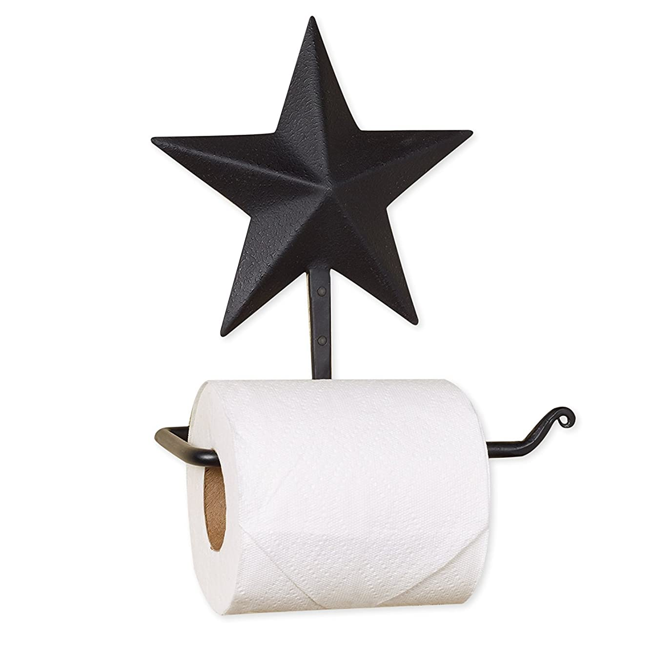 Black Barn Star 7 x 8 Inch Metal Toilet Paper Roll Holder
