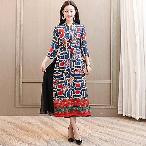 MeiZiZi Printemps,Robe Moulante,Vêtements pour Femmes,Manches Longues,Impression,Robe Trapèze