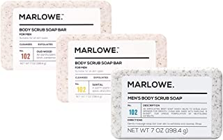 MARLOWE. No. 102 Men's Body Scrub Soap   Variety Scent 3-Pack   Best Exfoliating Bar for Men   Made with Natural Ingredien...