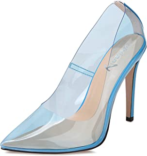 Sexy High Heels Pointy Toe Pumps Transparent Stiletto Cinderella Shoes for Women