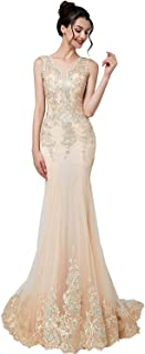 Women's Crystal Beaded Prom Dress Long Evening Gowns