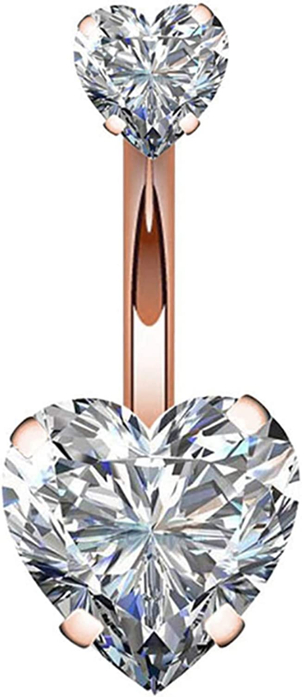erDouckan Fashion Creative Body Piercing Jewelry for Women Men Fashion Dual Heart Cubic Zirconia Barbell Navel Ring Women Body Piercing Jewelry