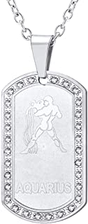 Men Women Zodiac Sign Necklace Stainless Steel Rolo Chain Rhinestone Dog Tags Pendant with Constellation Horoscope Sign, Gift Packed, Free Message Engrave Back Side
